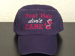 Boat Hair Don't Care Embroidered Preppy Baseball Cap