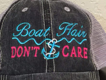 Load image into Gallery viewer, Boat Hair Don't Care with Waves Distressed Trucker Cap