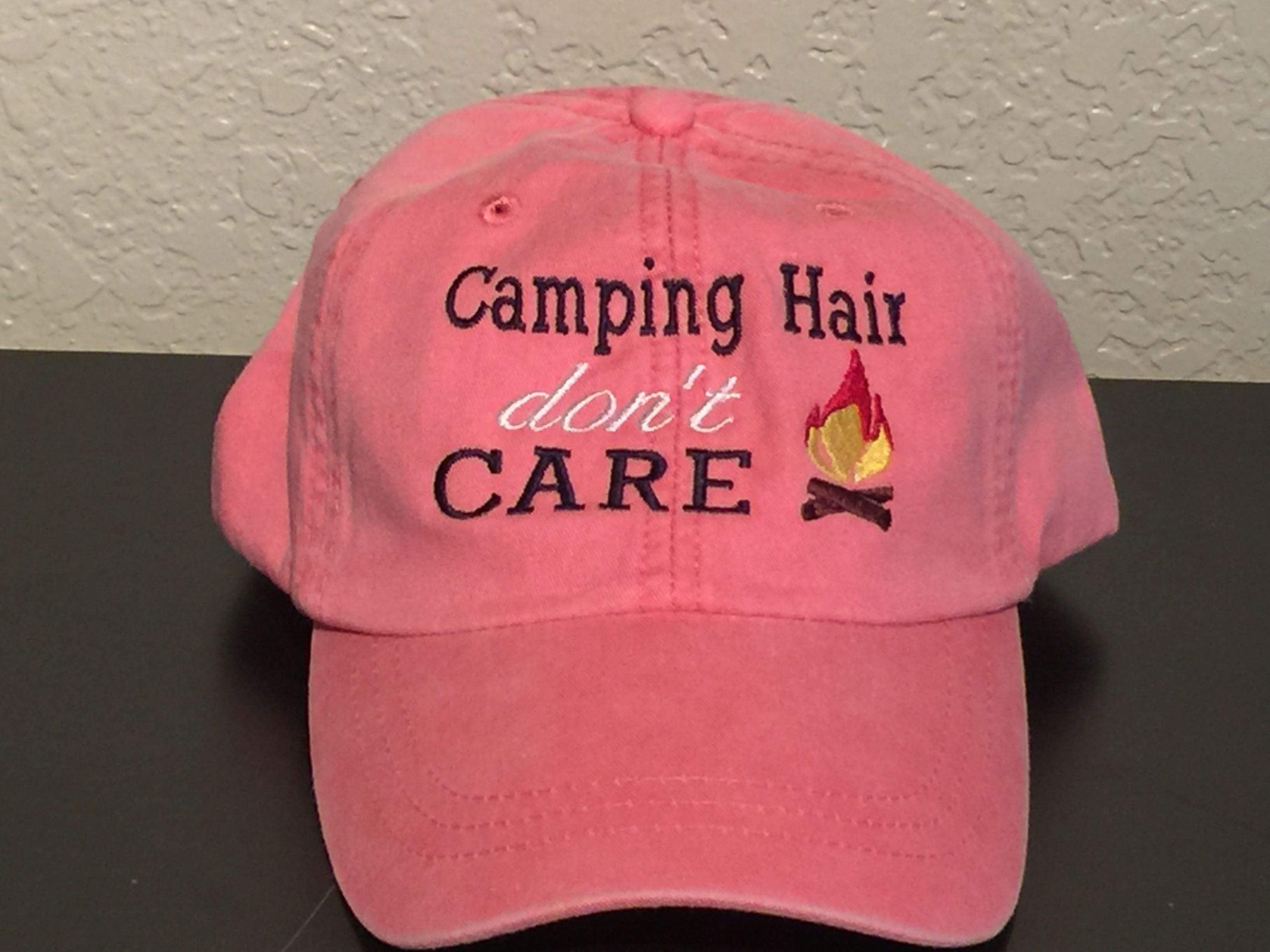 Camping Hair Don t Care Embroidered Baseball Cap – CoHo Bags 8c10e7c2278