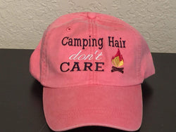 Camping Hair Don't Care Embroidered Baseball Cap