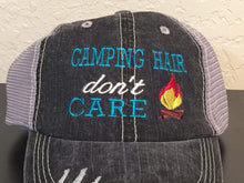 Load image into Gallery viewer, Camping Hair Don't Care Embroidered Distressed Trucker Cap