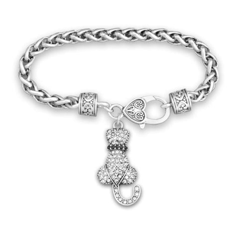 Cat Facing Backwards Rhinestone Charm Bracelet
