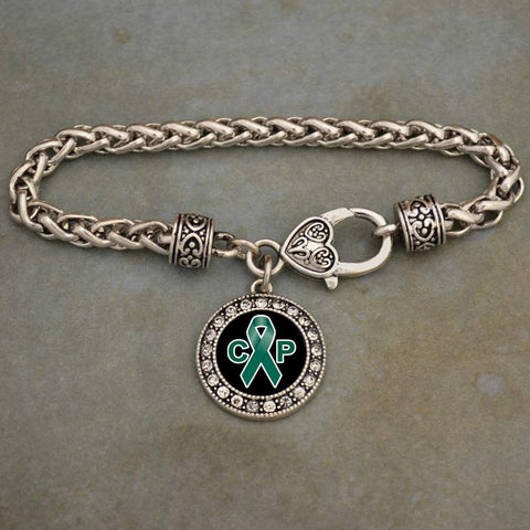 Cerebral Palsy Awareness Ribbon Rhinestone Charm Bracelet
