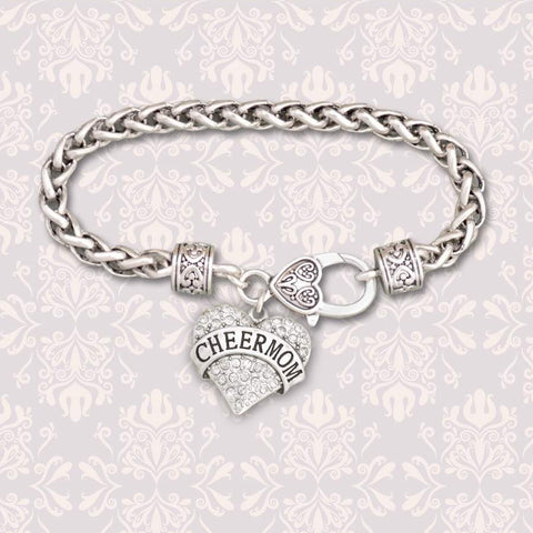 Cheer Mom Rhinestone Heart Charm Bracelet