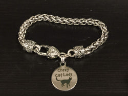 Crazy Cat Lady Engraved Charm Bracelet