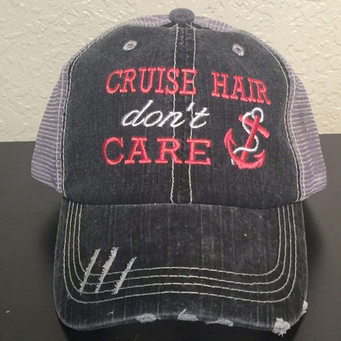 Cruise Hair Don't Care Embroidered Distressed Trucker Cap