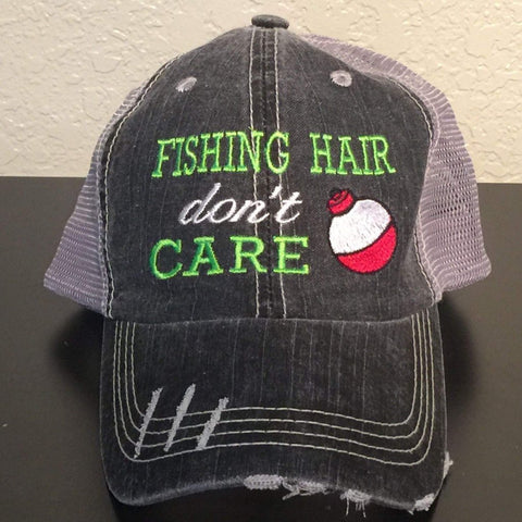 Fishing Hair Don't Care Embroidered Distressed Trucker Cap