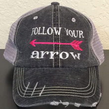 Load image into Gallery viewer, Follow Your Arrow Distressed Trucker Cap