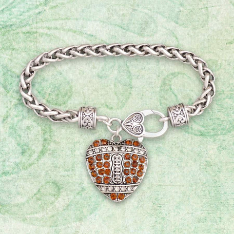 Football Heart Shaped Rhinestone Charm Bracelet