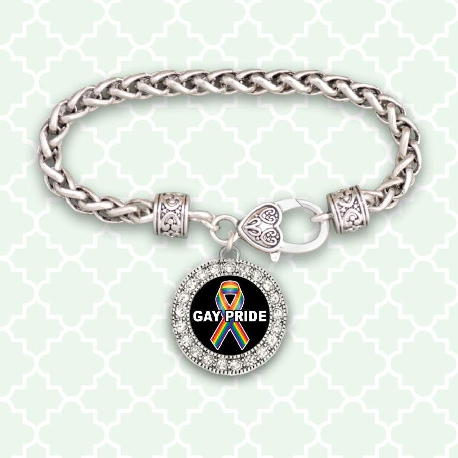 Gay Pride Awareness Ribbon Rhinestone Charm Bracelet,Bracelets