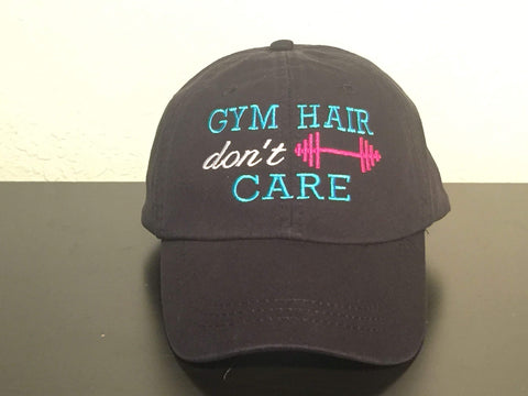 Gym Hair Don't Care Embroidered Baseball Cap