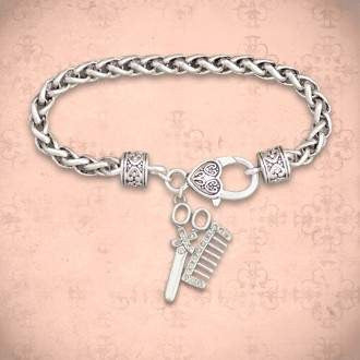 Hair Stylist Comb and Scissors Rhinestone Charm Bracelet,Bracelets