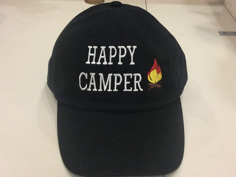 Happy Camper Embroidered Baseball Cap