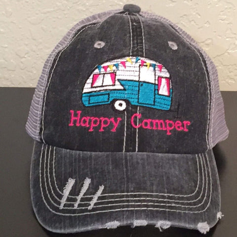 Happy Camper Embroidered Distressed Trucker Cap
