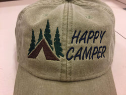Happy Camper with Tent and Trees Embroidered Baseball Cap