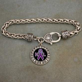 Hodgkin's Lymphoma Awareness Ribbon Rhinestone Charm Bracelet