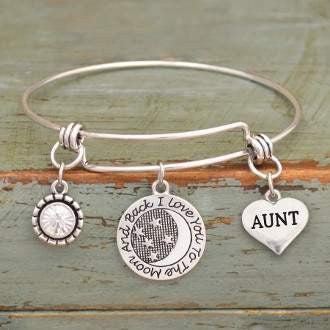 I Love You To The Moon & Back Aunt Adjustable Bangle Bracelet