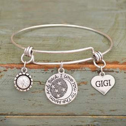 I Love You To The Moon & Back GiGi Adjustable Bangle Bracelet