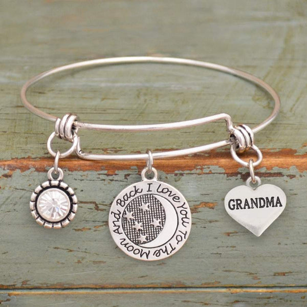 I Love You To The Moon & Back Grandma Adjustable Bangle Bracelet