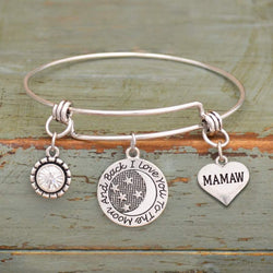 I Love You To The Moon & Back Mamaw Adjustable Bangle Bracelet