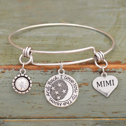 I Love You To The Moon & Back Mimi Adjustable Bangle Bracelet