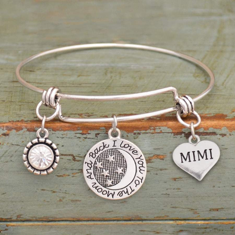 I Love You To The Moon & Back Mimi Adjustable Bangle Bracelet,Bracelets