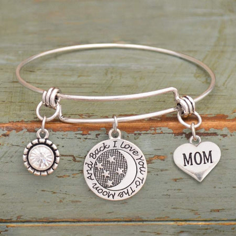 I Love You To The Moon & Back Mom Adjustable Bangle Bracelet