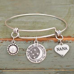 I Love You To The Moon & Back Nana Adjustable Bangle Bracelet