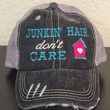 Load image into Gallery viewer, Junkin' Hair Don't Care Distressed Trucker Cap