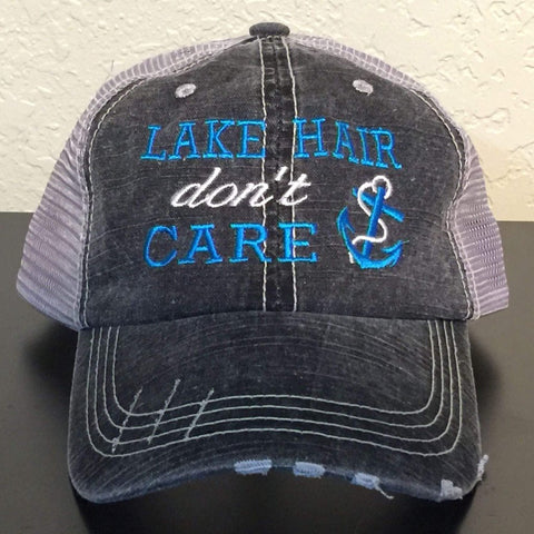 Lake Hair Don't Care Embroidered Distressed Trucker Cap