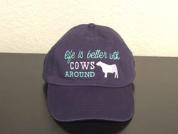 Life is Better with Cows Around Embroidered Baseball Cap