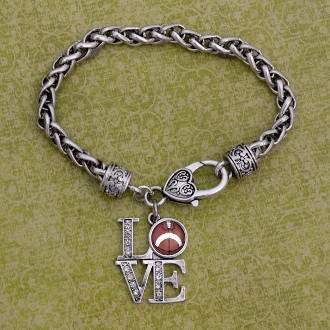 Love Football Rhinestone Charm Bracelet