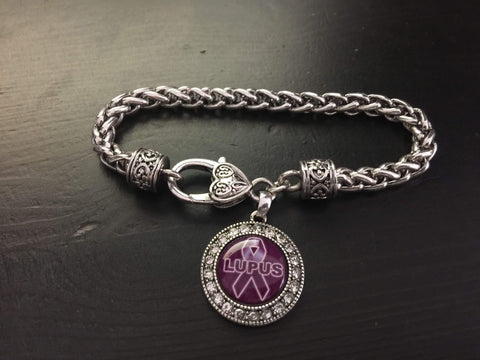 Lupus Awareness Ribbon Rhinestone Charm Bracelet