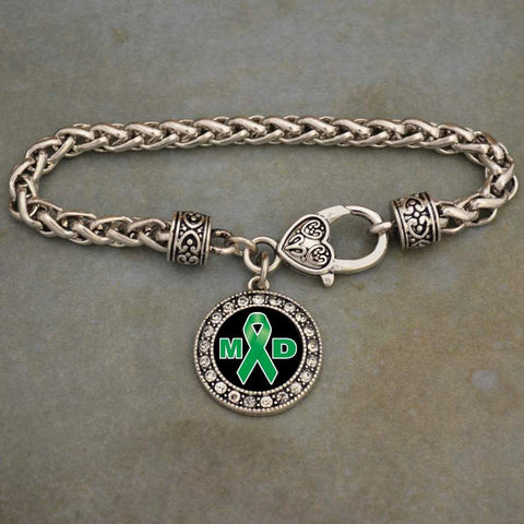 MD Muscular Dystrophy Awareness Ribbon Rhinestone Charm Bracelet