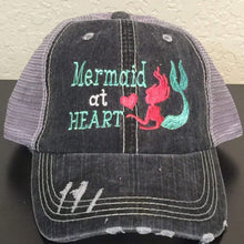 Load image into Gallery viewer, Mermaid at Heart Distressed Trucker Cap