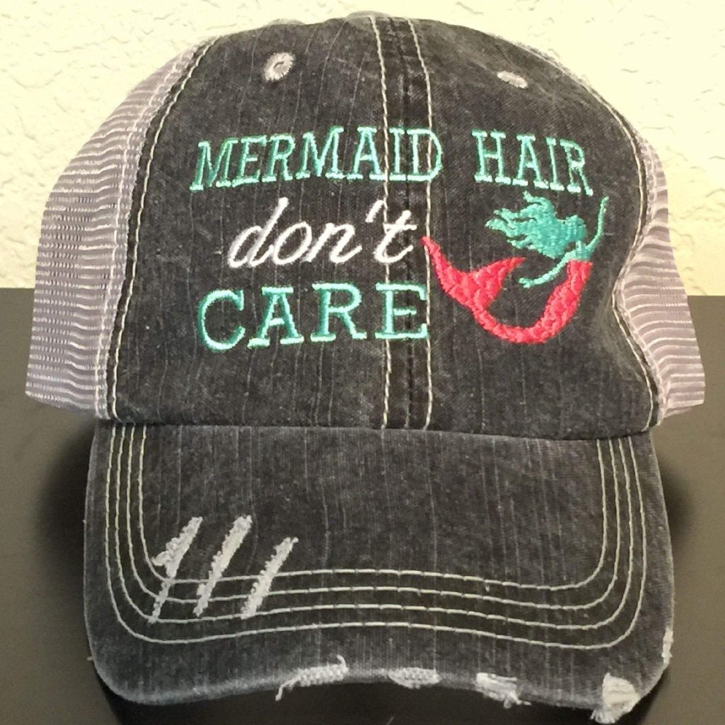 Mermaid Hair Don't Care Embroidered Distressed Trucker Cap,Caps
