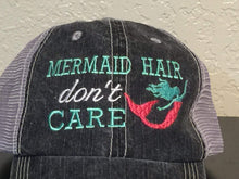 Load image into Gallery viewer, Mermaid Hair Don't Care Embroidered Distressed Trucker Cap,Caps