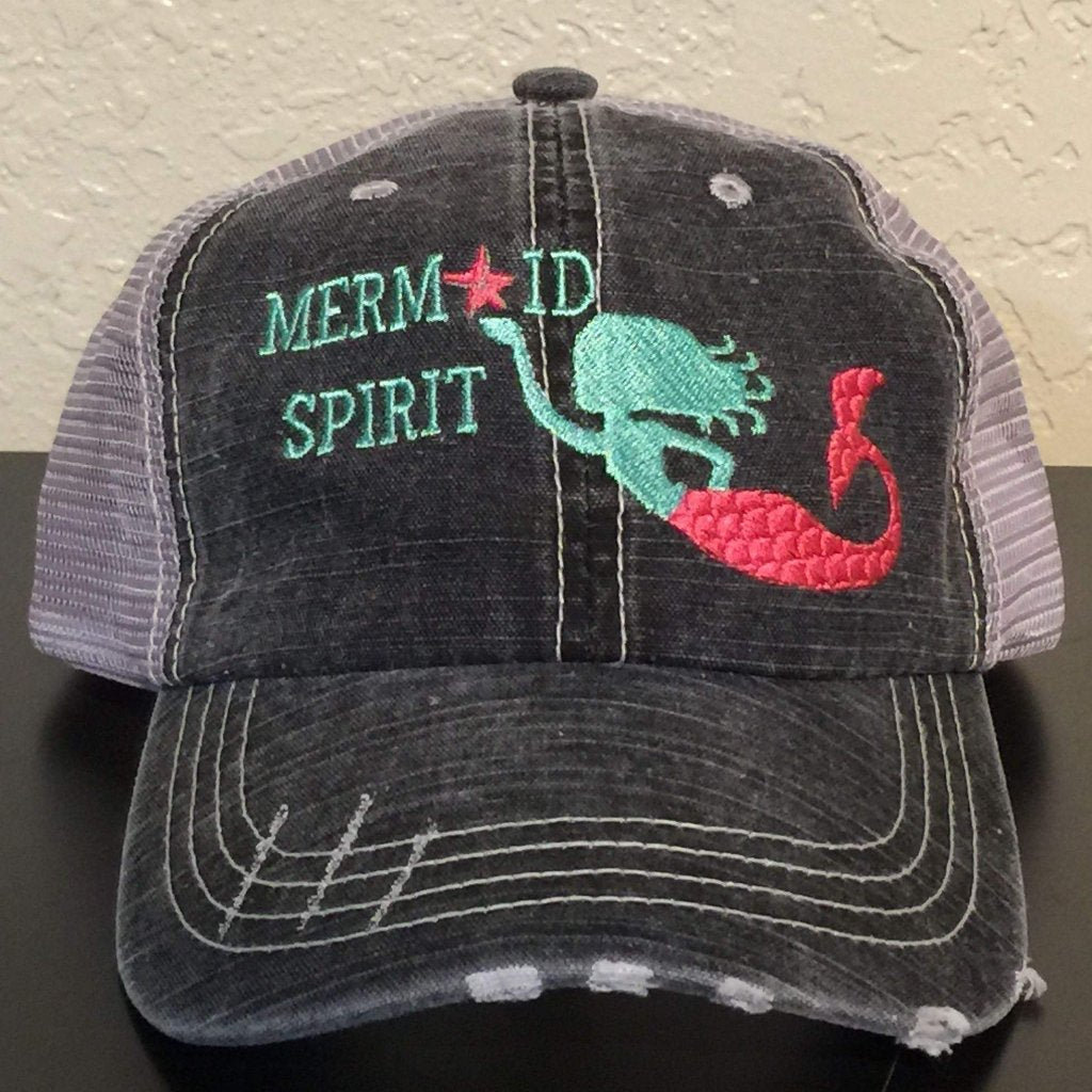 Mermaid Spirit Distressed Trucker Cap