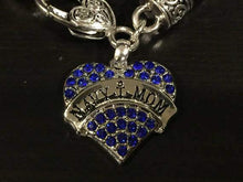 Load image into Gallery viewer, Navy Mom Rhinestone Heart Charm Bracelet