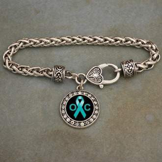 Ovarian Cancer Awareness Ribbon Rhinestone Charm Bracelet