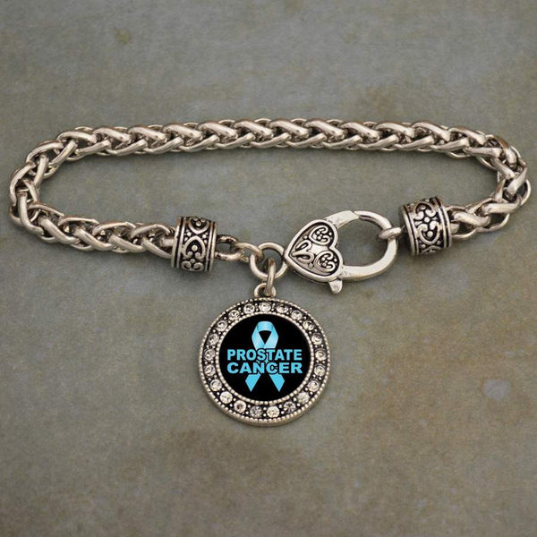 Prostate Cancer Awareness Ribbon Rhinestone Charm Bracelet