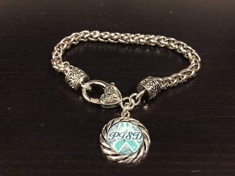 PTSD Awareness Ribbon Charm Bracelet