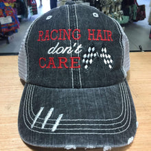 Load image into Gallery viewer, Racing Hair Don't Care Distressed Trucker Cap