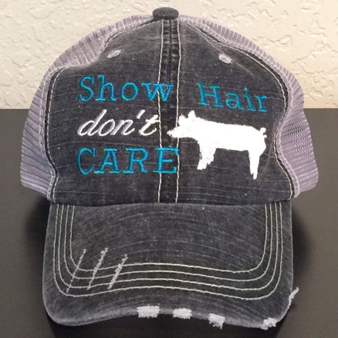 Show Hair Don't Care with Pig Distressed Trucker Cap