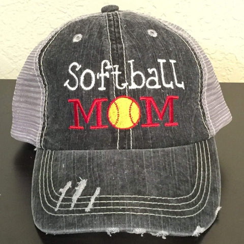 Softball Mom Distressed Trucker Cap