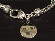Load image into Gallery viewer, Soldier's Wife Engraved Charm Bracelet