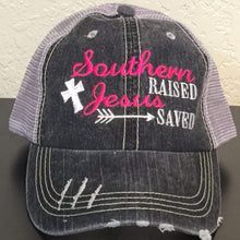 Load image into Gallery viewer, Southern Raised Jesus Saved Trucker Cap,Caps