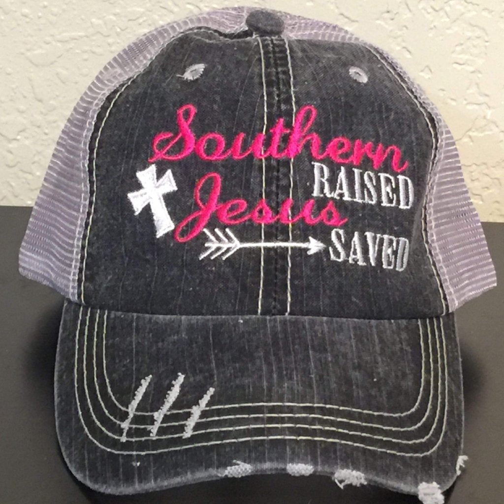 Southern Raised Jesus Saved Trucker Cap,Caps