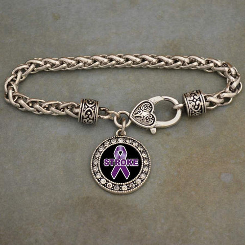 Stroke Awareness Ribbon Rhinestone Charm Bracelet
