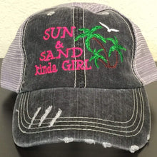 Load image into Gallery viewer, Sun & Sand Kinda Girl Distressed Trucker Cap,Caps